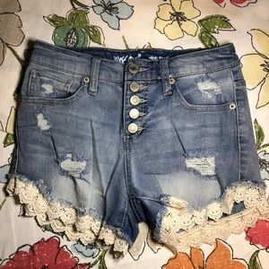 Target Mossimo High Rise Lace Short Shorts Jeans